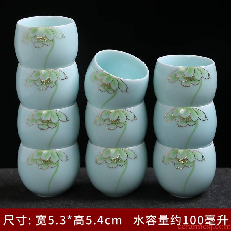 The Sample tea cup silver cup coppering. As silver 999 celadon teacup kung fu masters cup small ceramic cups cups silver cups