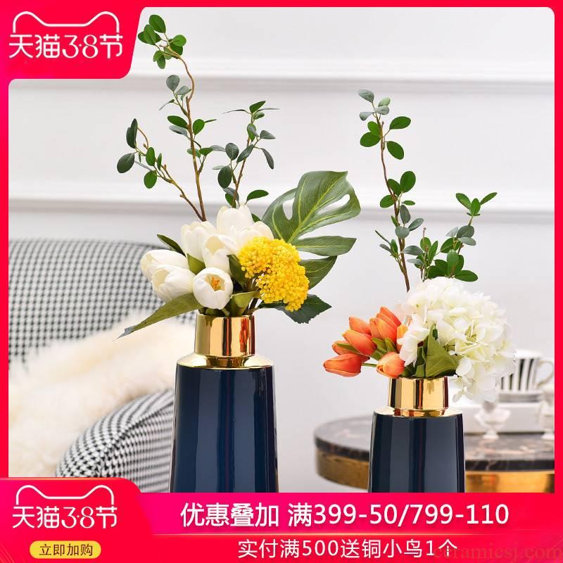 Light key-2 luxury furnishing articles home decoration ceramic vases, flower art creative flower arrangement sitting room decoration H1074 blue