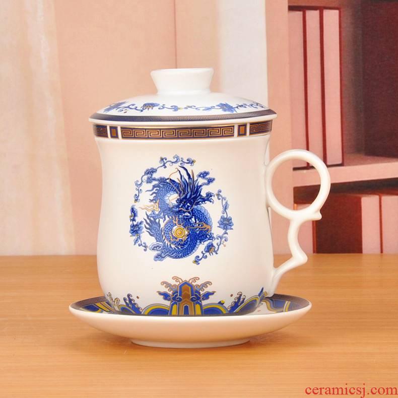 4 times of jingdezhen ceramic cups inferior smooth glaze water glass tea cup office cup belt filter good belt drives