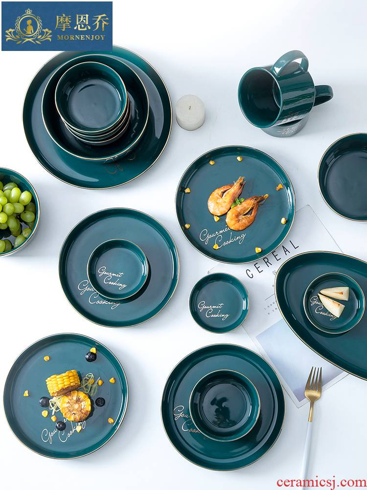 For single Nordic light much wind jobs household creative move blackish green dishes upscale glaze color ceramic tableware
