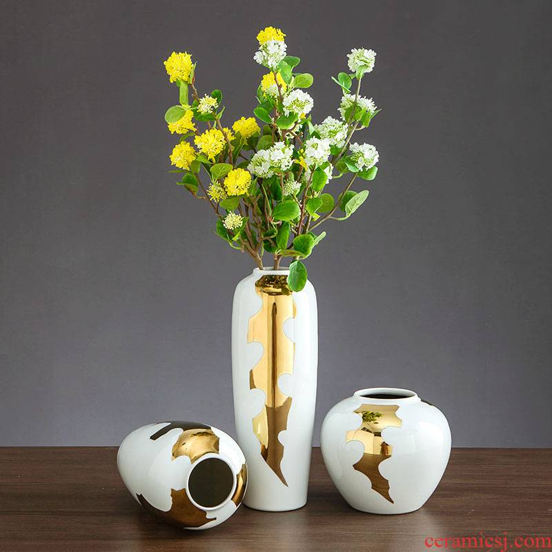 American light luxurious big ceramic vase furnishing articles sitting room table example room TV ark, household soft adornment arranging flowers