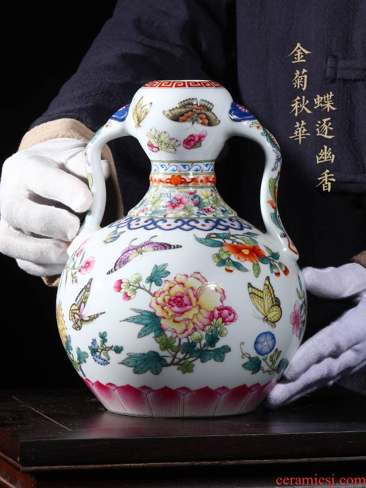 Jia lage jingdezhen vase interior furnishing articles YangShiQi clear pastel flower butterfly tattoo and name the best ear gourd bottle