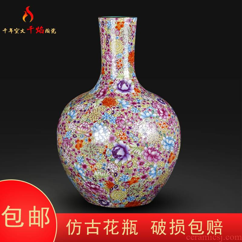 Jingdezhen ceramic antique qianlong pastel flower vases, Chinese style living room decorations rich ancient frame tree