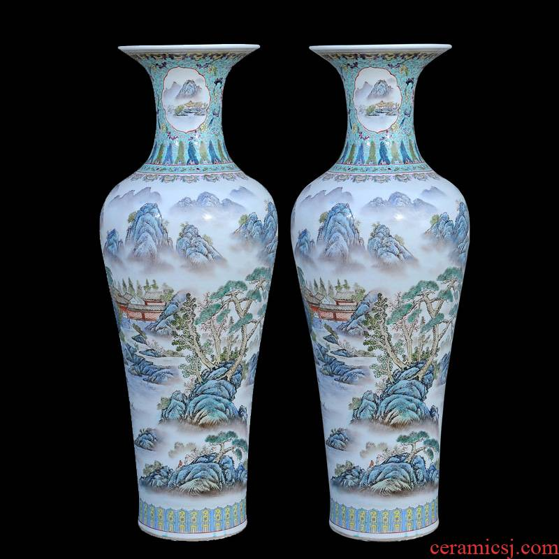 Jingdezhen ceramic vases, antique hand - made pastel landscape view sound of large vases, fashionable sitting room furnishing articles