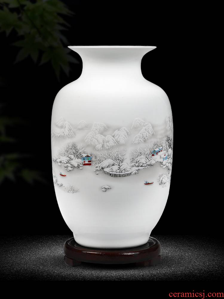 Jingdezhen ceramics floret bottle home furnishing articles dried flower arranging flowers, Chinese style living room TV cabinet handicraft