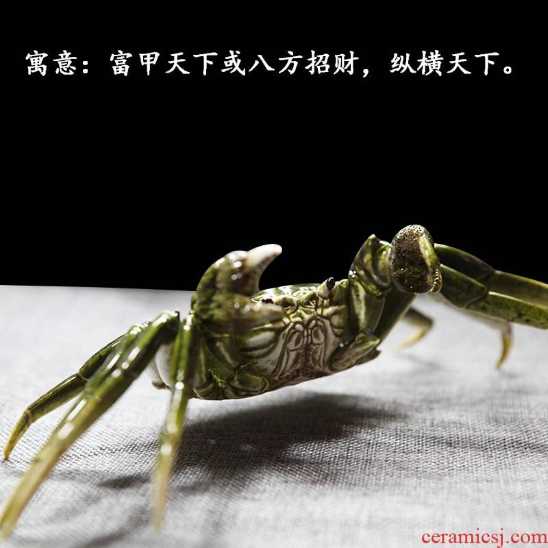 Jingdezhen ceramics simulation crab crab sitting room porch rich ancient frame decoration tea pet furnishing articles