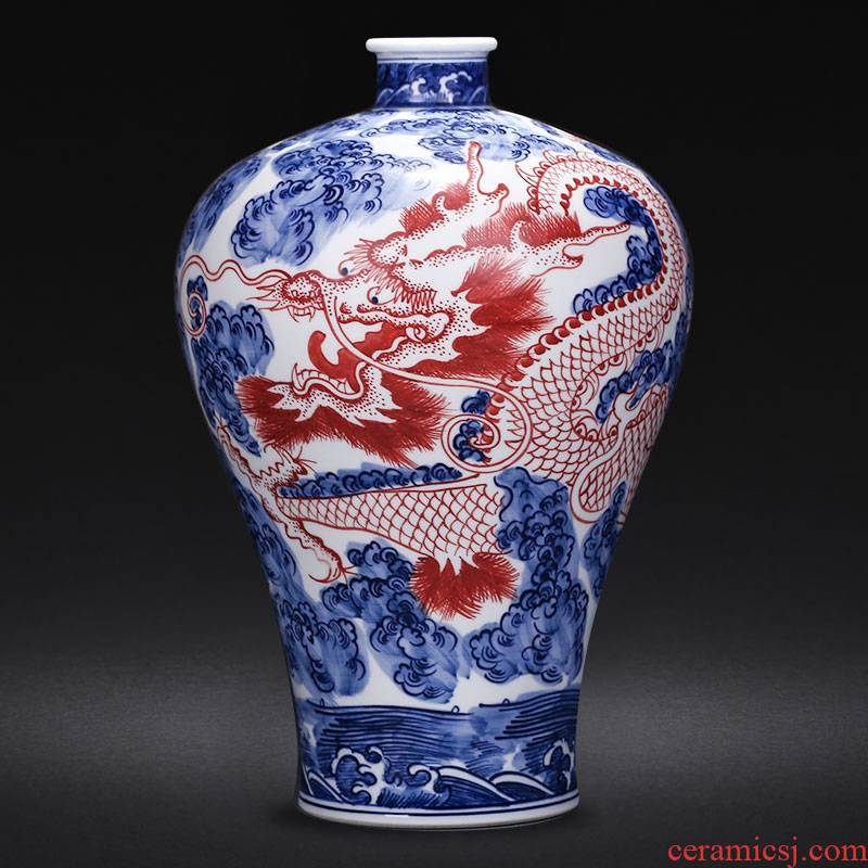Hand - made dragon vase of blue and white porcelain of jingdezhen ceramics sitting room place flower arrangement of Chinese style household wine accessories