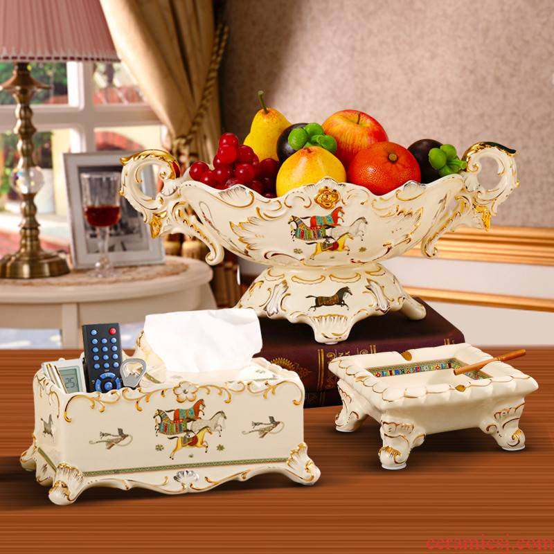 Ou compote suit sitting room key-2 luxury furnishing articles home American ceramic fruit bowl tea table creative home decorations