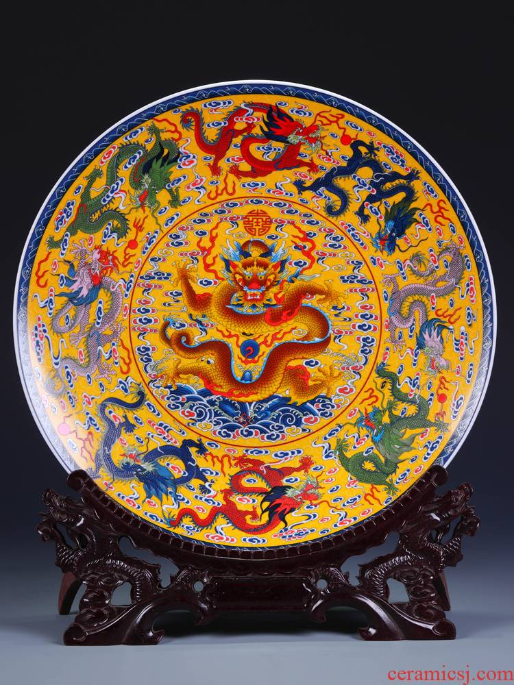 Jingdezhen ceramics, Kowloon figure sat hang dish of pottery and porcelain decoration plate Chinese style living room decoration business gifts