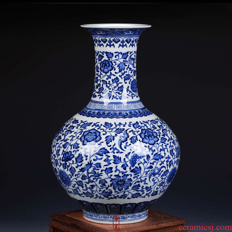 Antique hand - made the design of blue and white porcelain of jingdezhen ceramics vase furnishing articles of dry flower arranging the sitting room decorate gifts