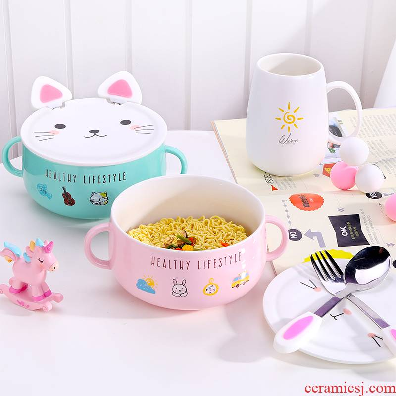 Creative lovely ceramic bowl of soup bowl with cover dormitory instant noodles bowl chopsticks household size suit students eat bowl dishes