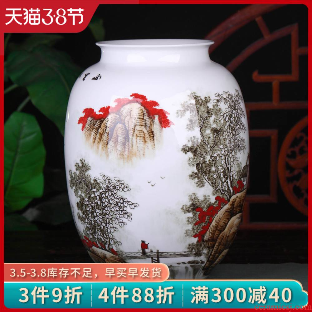 Jingdezhen ceramics famous hand - made mountain people vases, flower arrangement, the new Chinese style sitting room adornment is placed