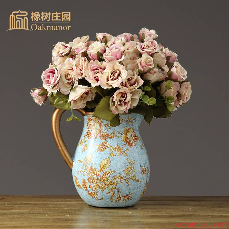 American ceramic creative floret bottle of flower arranging furnishing articles Europe type restoring ancient ways of household living room table decoration of Chinese style decoration