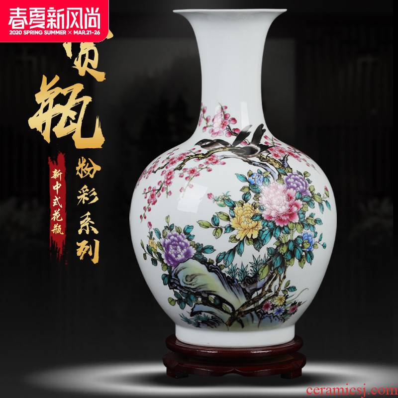 Sitting room place vase large dry flower arranging flowers white enamel porcelain ceramics handicraft decoration hotel counter