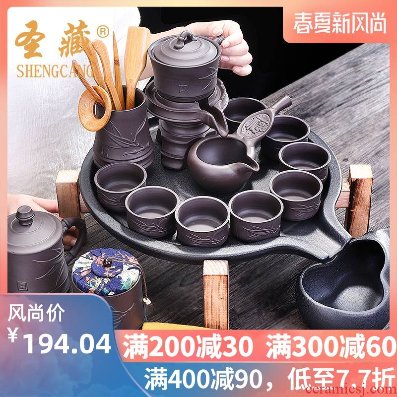 Stone ground tea set suit household violet arenaceous kung fu tea tea tray cup teapot contracted a visitor mill modern automatically