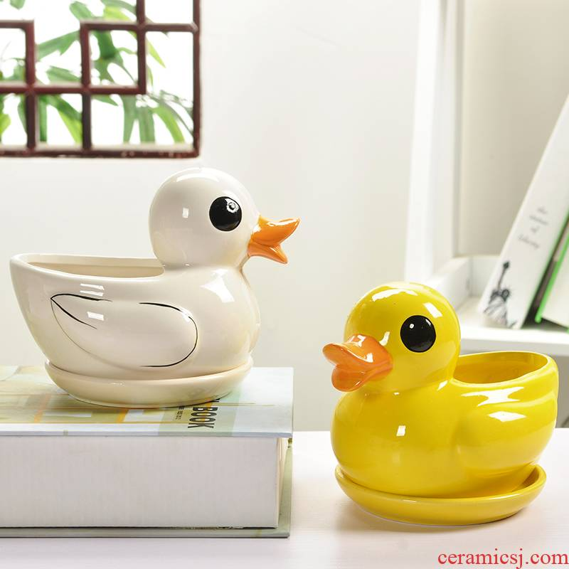Yellow duck pot cartoon creative ceramic special offer a clearance other rich tree plant large contracted small tray