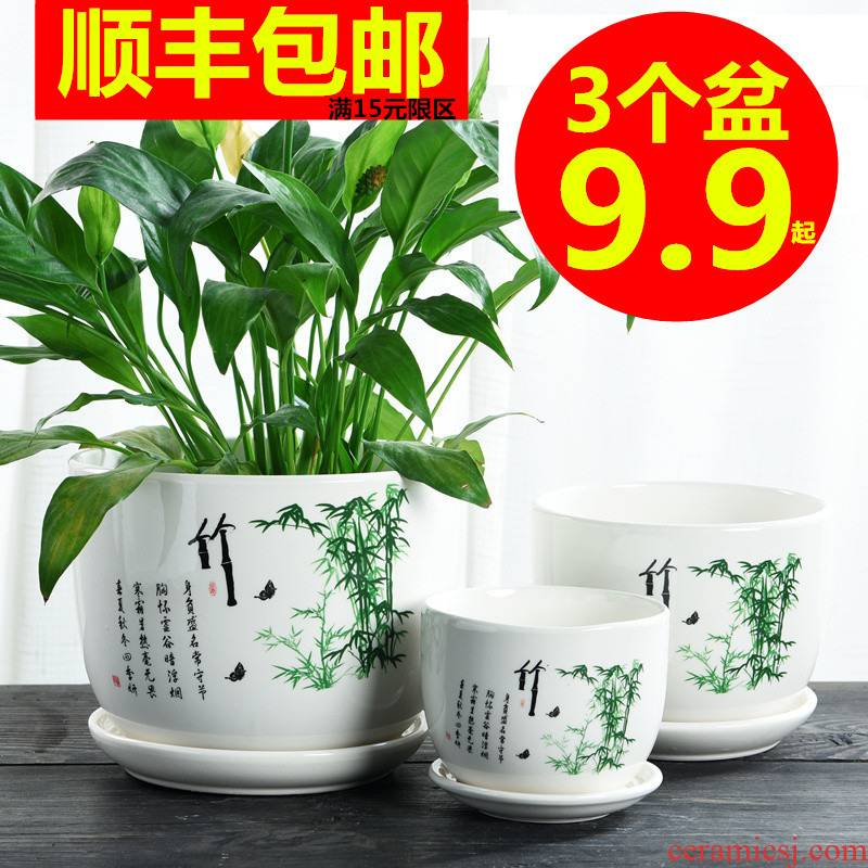 Heavy flowerpot ceramic large special offer a clearance with tray was home flesh creative move more than other small meat flowerpot