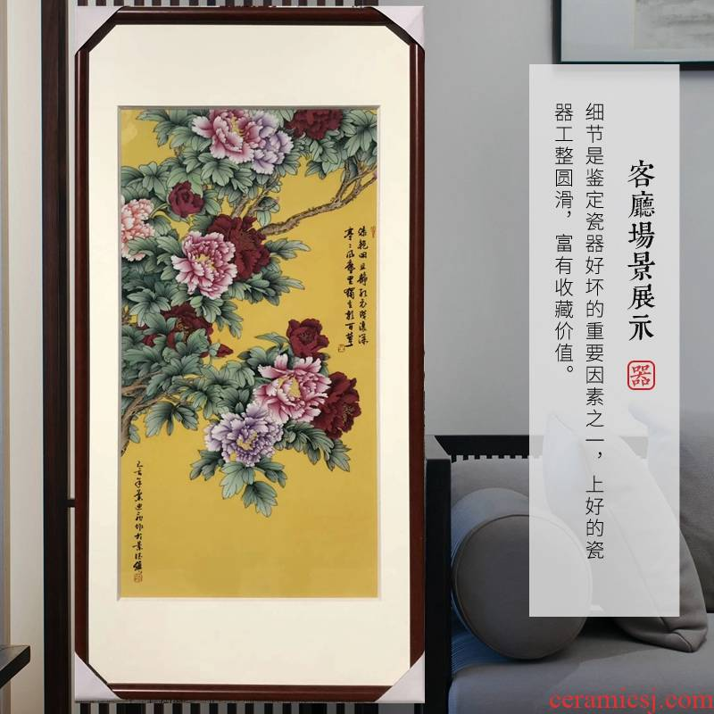 Jingdezhen ceramic masters painting porcelain plate painting antique solid wood painting blooming flowers sitting room decorate the study
