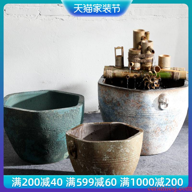 Jingdezhen thick some ceramic porcelain basin of aquarium water lily lotus large cylinder cylinder tank tortoise goldfish bowl lotus basin water furnishing articles
