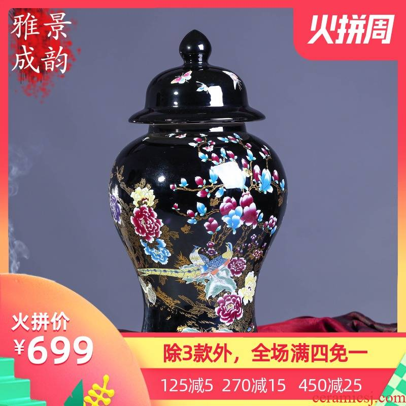 Jingdezhen general pot vase China creative sitting room ground ceramic restoring ancient ways is contracted checking works of art