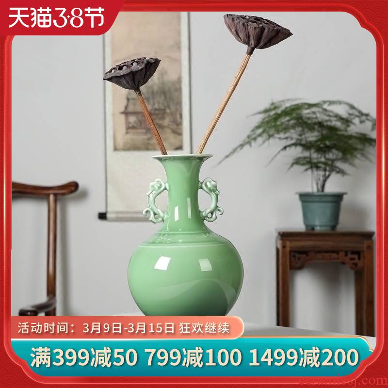 Jingdezhen ceramic furnishing articles manually celadon vase ears zen new sitting room of Chinese style household decoration process