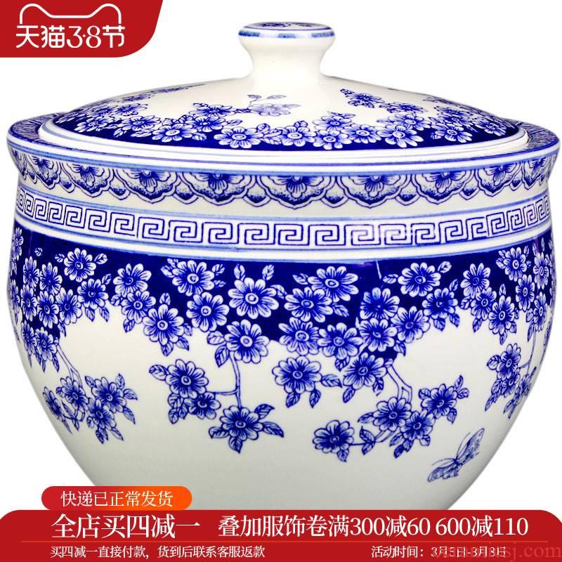 C189 jingdezhen ceramics from merry with cover tank storage jar of pickles cylinder barrel m pickle jar of 10 jins
