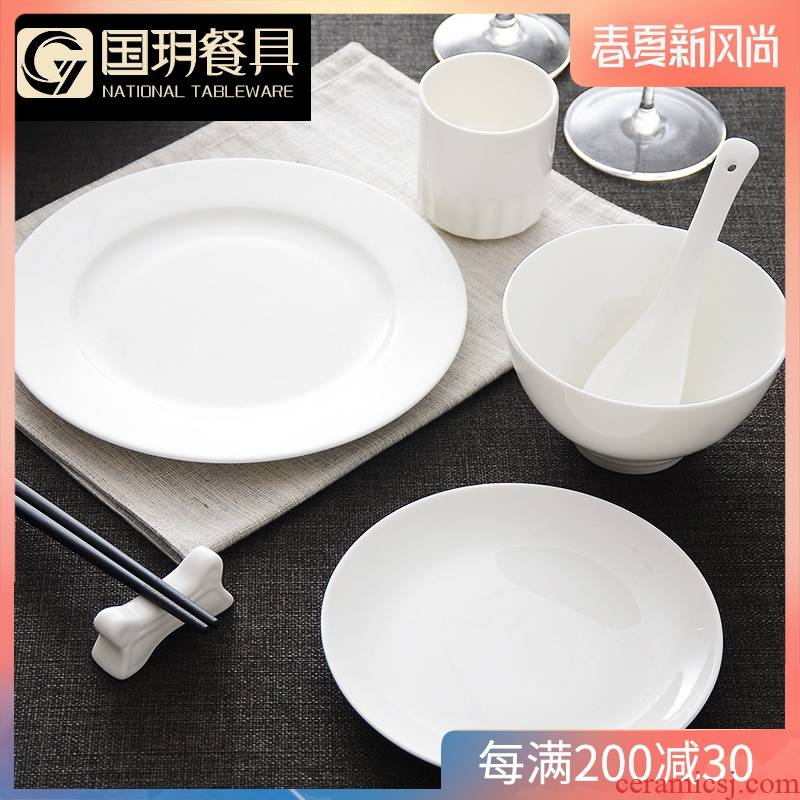 Tangshan creative white ipads China tableware suit pure white ceramics round Chinese dishes suit household dish bowl