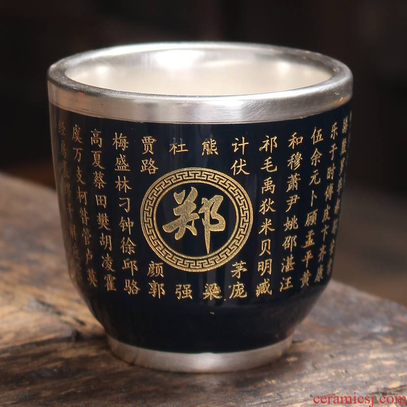 Sterling silver master cup ceramic cup heart sutra of glasses tasted silver gilding ceramic cups kung fu tea set custom cup