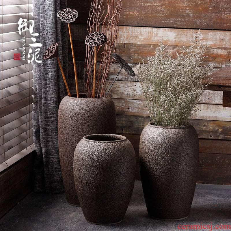 Contracted and modern flower arrangement sitting room place jingdezhen ceramic vase landing coarse pottery dried flower flower implement Japanese POTS