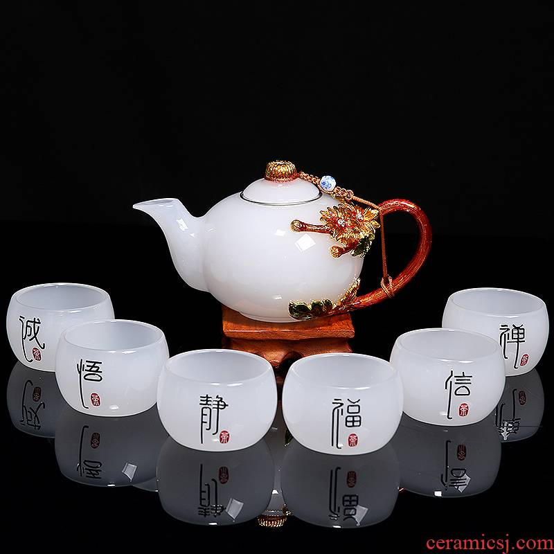 Jade porcelain white porcelain tea set suit modern household contracted coloured glaze colored enamel kung fu manual cup teapot gift boxes