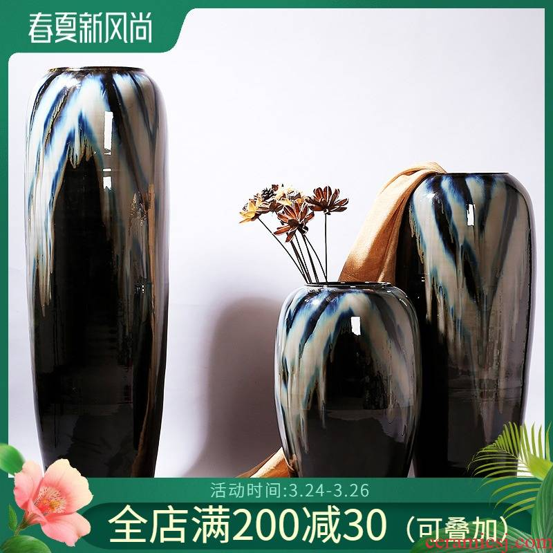 Jingdezhen ceramic floor vase garden villa decoration theme hotel furnishing articles take home decoration