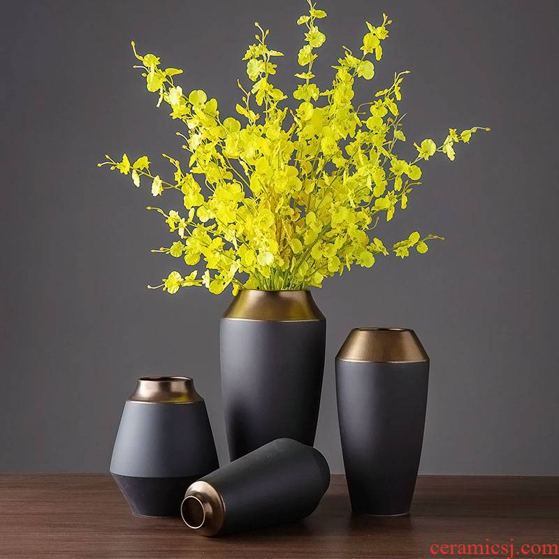 Vase furnishing articles table light sitting room key-2 luxury dried flower adornment of jingdezhen ceramic decoration simple Nordic flower arranging flowers