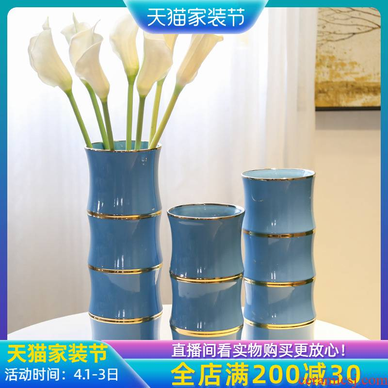 Jingdezhen mesa vase three - piece flower implement creative TV ark, the sitting room porch light flower decoration key-2 luxury flower simulation