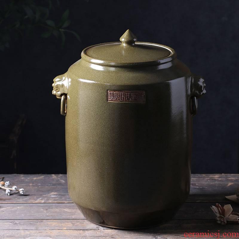 50 kg of jingdezhen ceramic altar high - grade tank cylinder barrel mercifully jars with leading oil jar pickles pickled meat