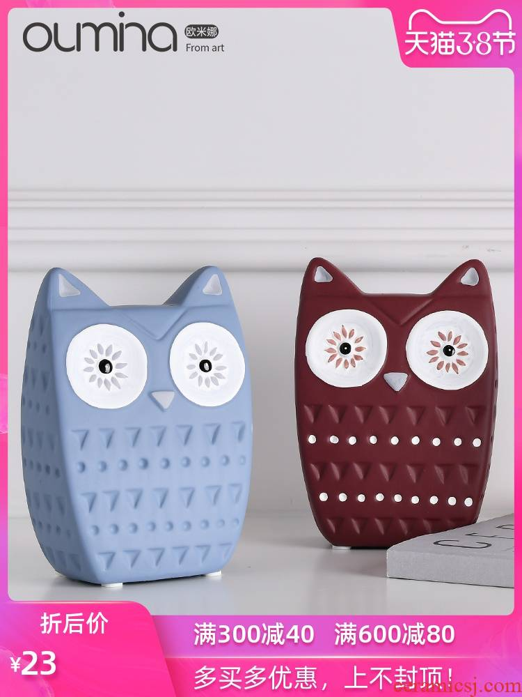 I and contracted Nordic home decoration sample of new home sitting room study animal owl ceramic furnishing articles