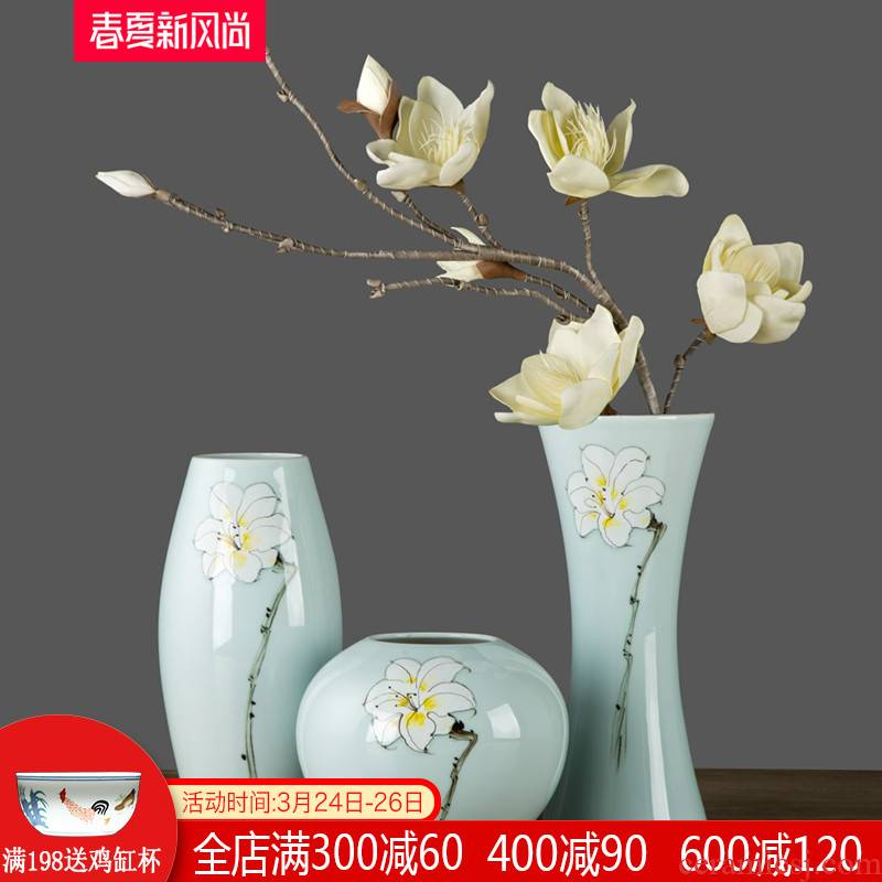 Jingdezhen ceramics hand - made three - piece vase dried flowers flower arrangement of modern new Chinese style household adornment furnishing articles sitting room