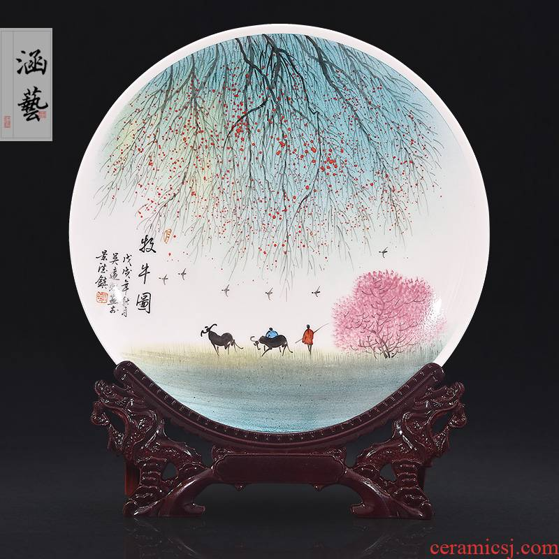Jingdezhen ceramics hand - made cattle figure decoration plate sit plate hanging dish of new Chinese style living room porch handicraft furnishing articles