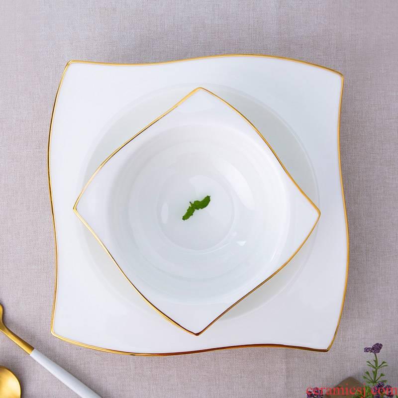 Jingdezhen ceramic tableware ipads porcelain 0 home square, Jin Bianshang dish plate of pasta place the child desk tray