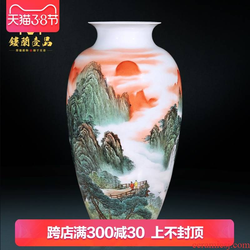 Jingdezhen ceramics by hand draw pastel large dry flower vases, modern Chinese style living room decoration collection place