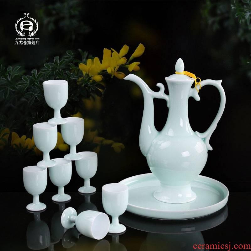 DH liquor wine suits for Chinese jingdezhen hip ceramics thin body porcelain household celadon vintage wine
