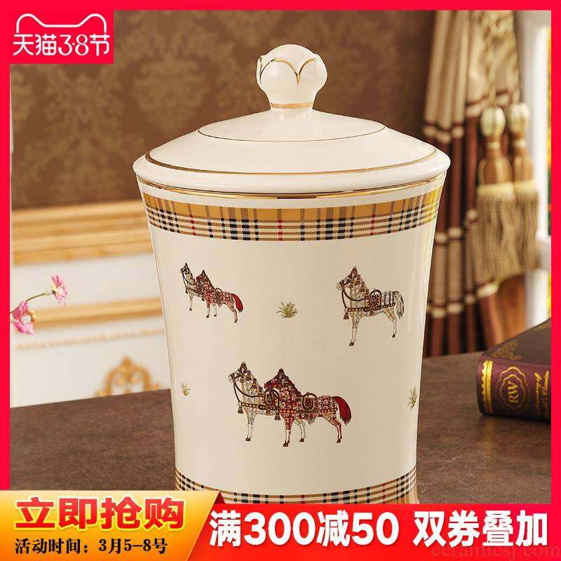 European ceramic trash as cans sitting room wastebasket dross barrel wastewater creative study bedroom decoration furnishing articles