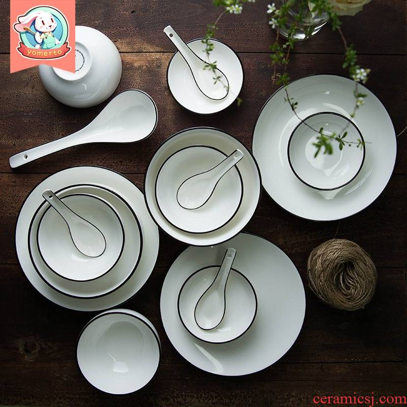Yomerto northern dishes suit household contracted to eat big bowls of soup bowl rainbow such as bowl bowl spoon, creative ceramic plate