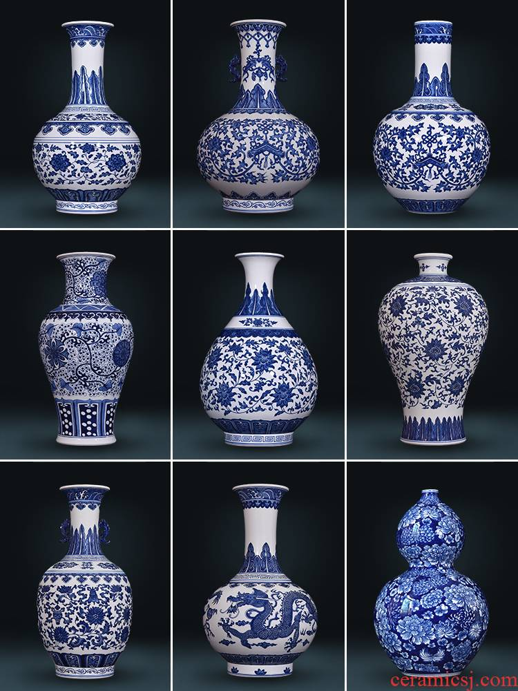 Jingdezhen ceramics hand - made antique blue and white porcelain vases, flower arrangement sitting room of Chinese style decorates household TV ark, furnishing articles