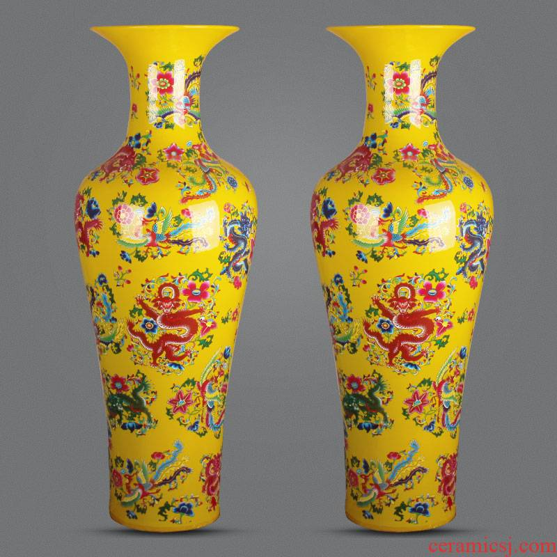 Ceramic floor big jingdezhen porcelain vase Chinese longfeng porcelain bridal chamber to heavy adornment is placed large living room