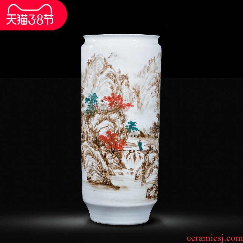 Jingdezhen ceramic celebrity master hand - made jiangshan jiao large vases, new Chinese style household decorations furnishing articles