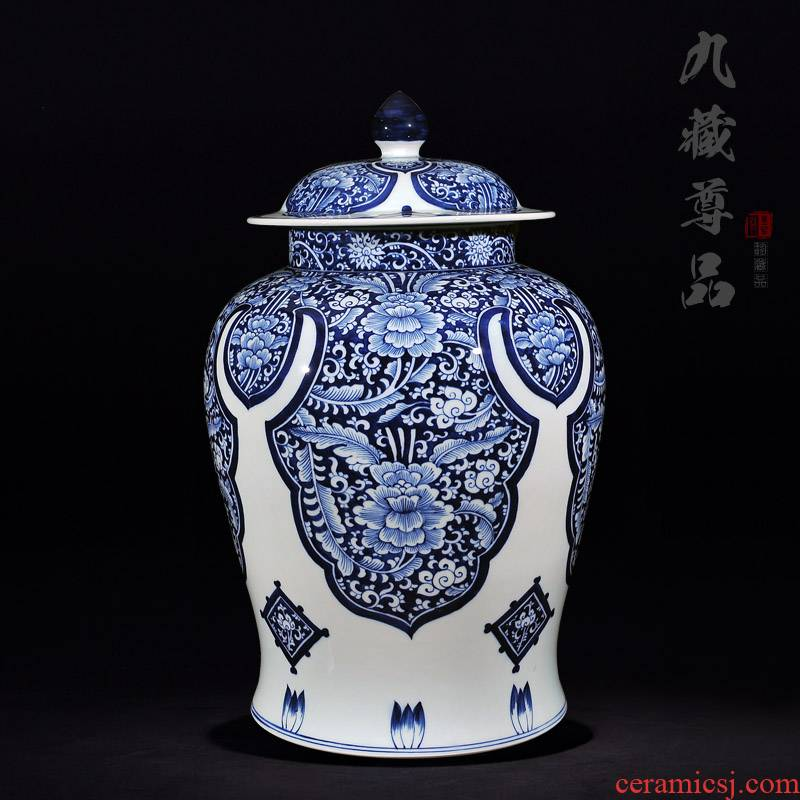 Copy a blue - and - white, yuan and Ming LuLianSheng jingdezhen ceramics with cover general tank craft ornaments TV ark, furnishing articles