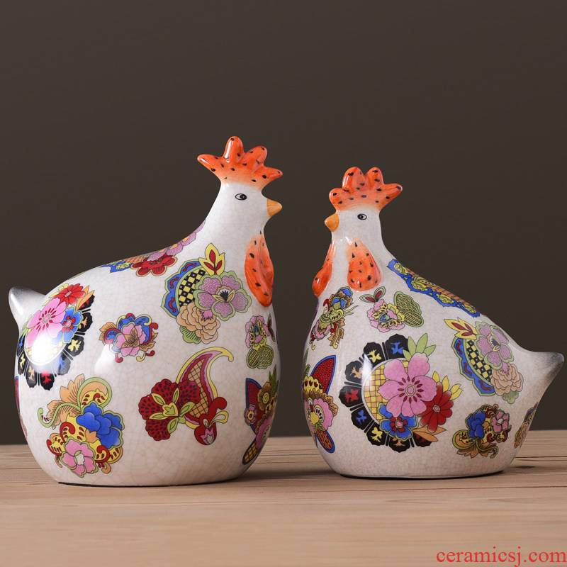 American pastoral originality made pottery and porcelain goo goo chicken place large animals home sitting room adornment wedding gift