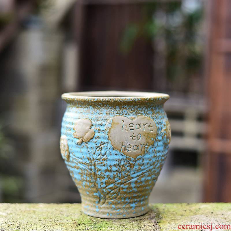 Fleshy flower pot small old ceramic coarse pottery large large diameter running the Fleshy plant basin breathable creative move clay POTS