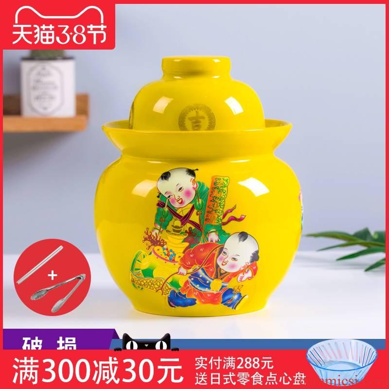 Jingdezhen ceramic pickle jar sauerkraut pickled 7/10 kg pack sealing earthenware jar thickening pickle jars of household