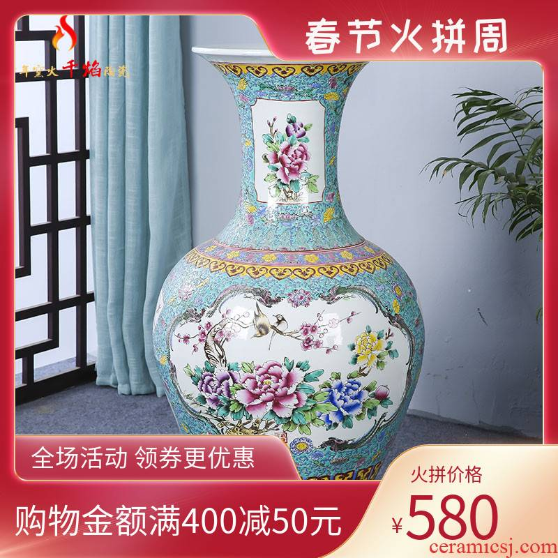 Jingdezhen ceramics of large vase archaize pastel hand - made of double - sided peony hotel furnishing articles sitting room adornment